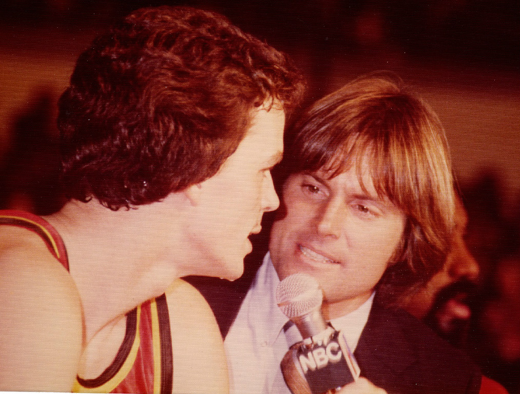Allen and Bruce Jenner, 1976 Decathlon Olympic Champion, shown during an entertaining 1980 game with Meadowlark Lemon's Bucketeers.