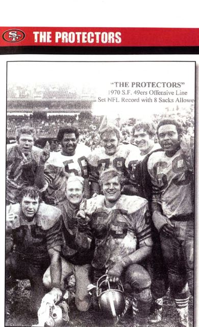 Randy Beisler, no. 65, with his line that broke the NFL No-Sacks record in 1970. Guess how many of the others in the photo are still fit?